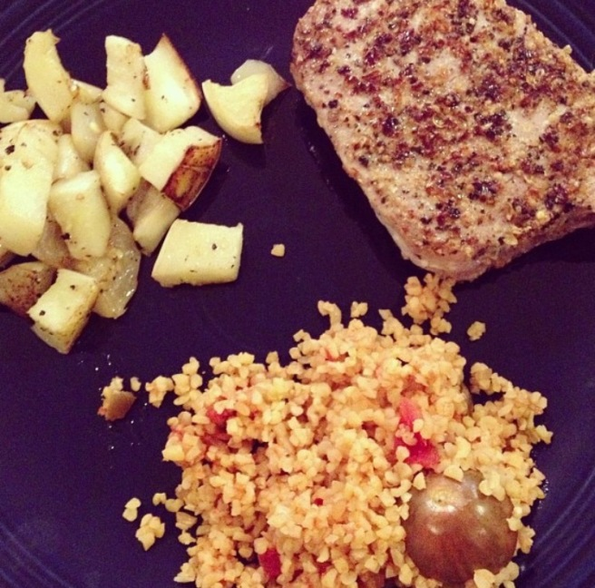 DATE NIGHT: Pepper Crusted Seared Tuna Steak with Roasted White Eggplant and Fiesta Bulgur Wheat