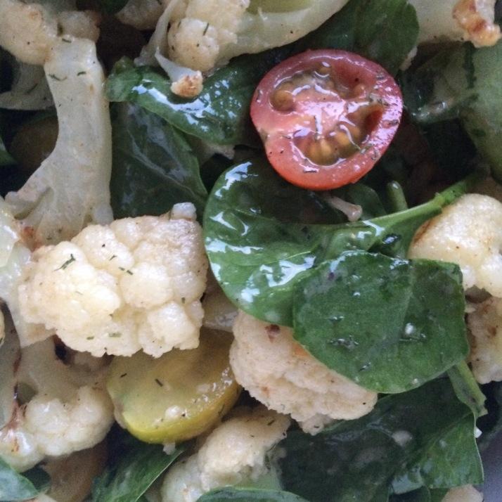 VEGGIES: Grilled Cauliflower Spinach Salad