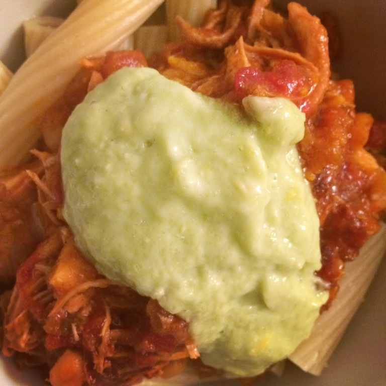 CROCKPOT COOKIN': Enchilada Chicken with Avocado Corn Crema